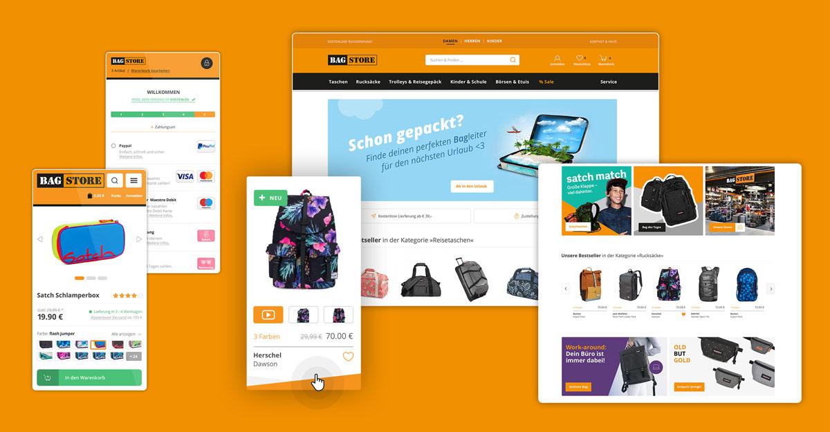 Bagstore Responsive Webshop UX und UI Design