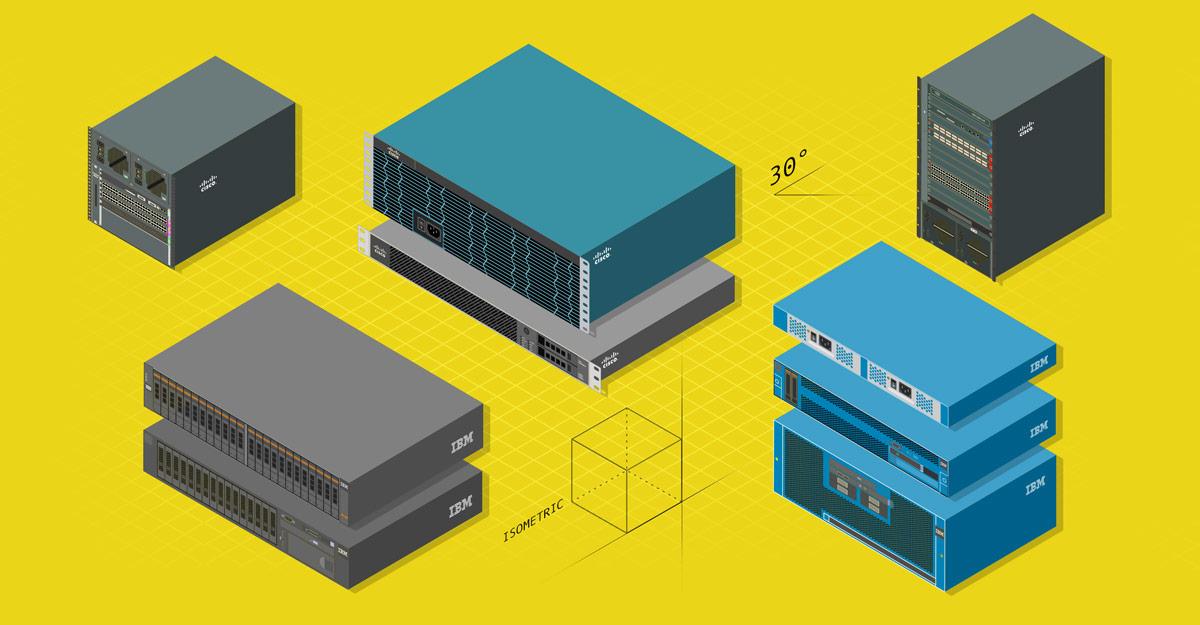 Illustration Isometrische Serverkomponenten